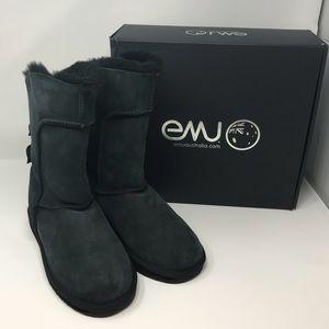 EMU Alba Black Suede Boots Size 11